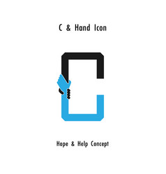 Creative c alphabet icon abstract and hands icon vector