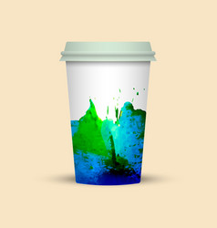 Creative watercolor coffee cup template vector