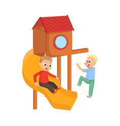 Cute little boys playing on slide kids having fun vector