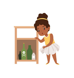 Cute little girl playing with hazardous substances vector