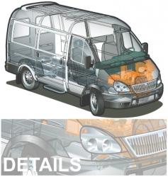delivery cargo van cutaway vector image