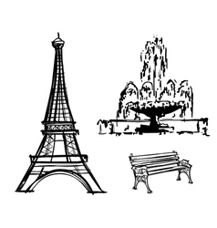 Eiffel Tower fountain bench drawn in pencil vector image