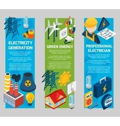 Electricity Isometric Banner Set vector
