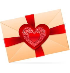 envelope with red paper heart vector image