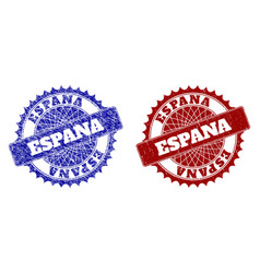 Espana blue and red round watermarks with grunge vector