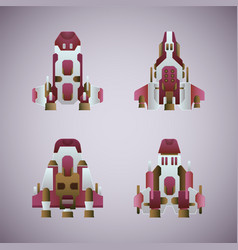Fantastic space ships set in flat style vector