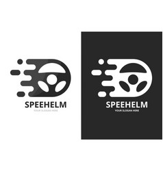 Fast car helm logo combination speed vector