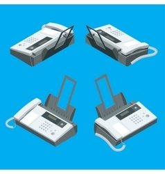 Fax machine office equipment Flat 3d vector image