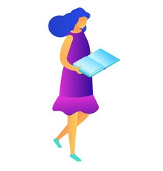 female student walking and reading isometric 3d vector image