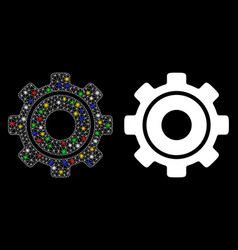 Flare mesh 2d cog icon with flare spots vector