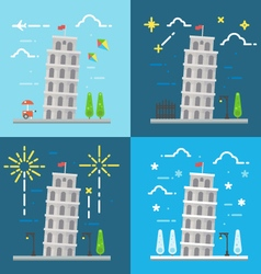 flat design 4 styles leaning tower pisa ital vector image