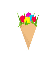 flowers bouquet isolated flat vector image