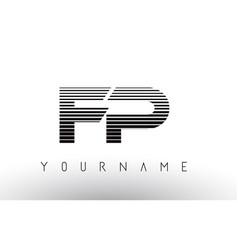 fp f p black and white horizontal stripes letter vector image
