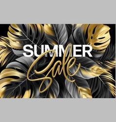 gold metallic summer sale lettering on a black vector image