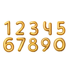 golden number balloons realistic numeral vector image