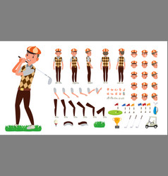 Golf player animated character creation vector