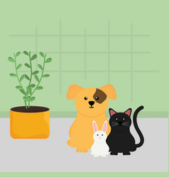 group mascots with house plant vector image