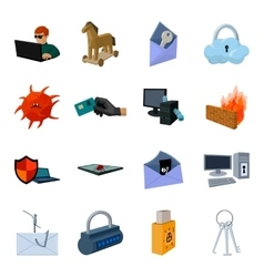 Hackers and hacking set icons in cartoon style vector