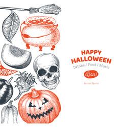 halloween banner template hand drawn design vector image