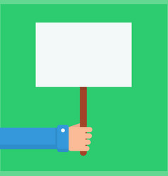 Hand holding placard vector