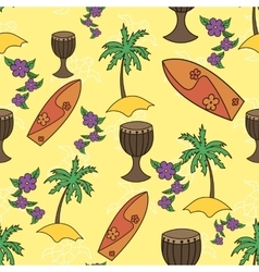Hawaii cocktail seamless pattern yellow color vector image