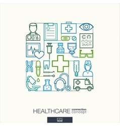 Healthcare integrated thin line symbols Modern vector