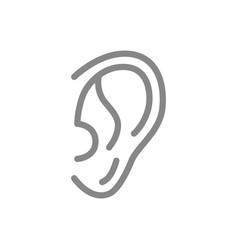 Human ear line icon hearing organ symbol vector