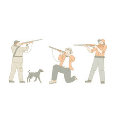 huntsman or hunter and dog hunting sport isolated vector image