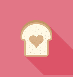 icon bread with heart sign inside flat design vector image