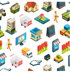 isometric online shopping icons background vector image
