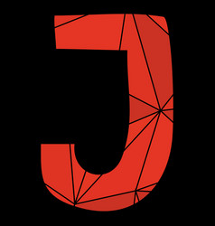 J red alphabet letter isolated on black background vector
