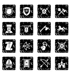 knight medieval icons set grunge vector image