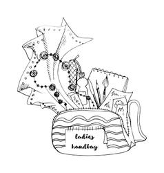 Ladies handbag doodle style vector