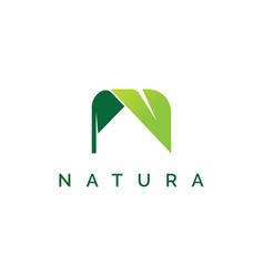 letter n with leaf shape logo design inspiration vector image