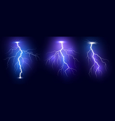 lightning thunder storm realistic lightnings set vector image