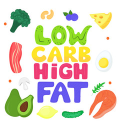 low carb high fat hand drawn lettering keto vector image