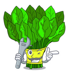 Mechanic vegetables spinach isolated on the mascot vector