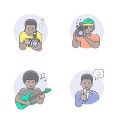 media professions african man avatars vector image