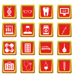 medicine icons set red vector image