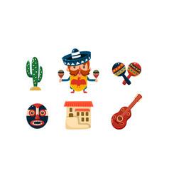 mexico icons set mexican cartoon symbols vector image