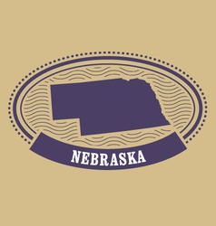 Nebraska map silhouette - oval stamp vector