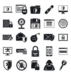 network security icon set simple style vector image