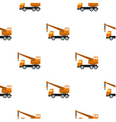 Orange truck crane pattern flat vector
