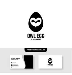 Owl egg logo design and business card template vector