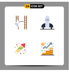 Pack 4 creative flat icons cinema festivity vector