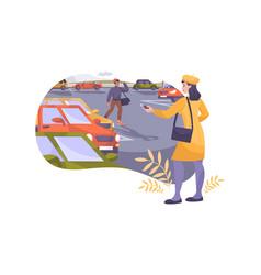 parking flat composition vector image