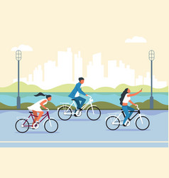 people riding bicycle cartoon active characters vector image