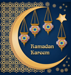 ramadan kareem background with lanterns moon vector image