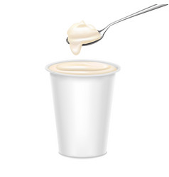 Realistic detailed 3d white blank template yoghurt vector