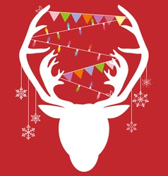 Reindeer white hang christmas accessories on red vector image